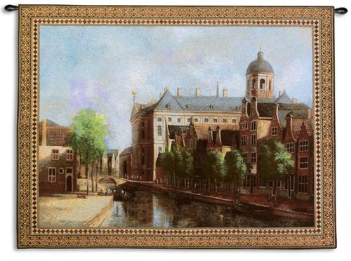 Morning Stillness Retro Cityscape Tapestry Wall Hanging - Town Scene, 53in X 41in