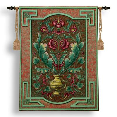 Moss Rose Run Ornamental Tapestry Wall Hanging - Floral Design, 40in X 52in