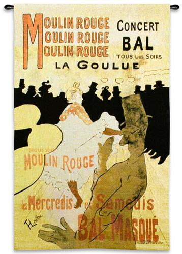 Moulin Rouge Modern Tapestry Wall Hanging - Vintage Poster, 38in X 53in