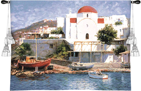 Mykonos ii nautical tapestry wall hanging greek for Greece waterfront property for sale