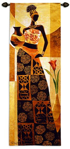 Naima Romantic Tapestry Wall Hanging - African Woman Portrait, 26in X 75in
