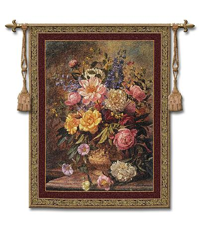 Nature'S Glory III Still Life Wall Tapestry - Floral Bouquet In A Vase, 42in X 53in