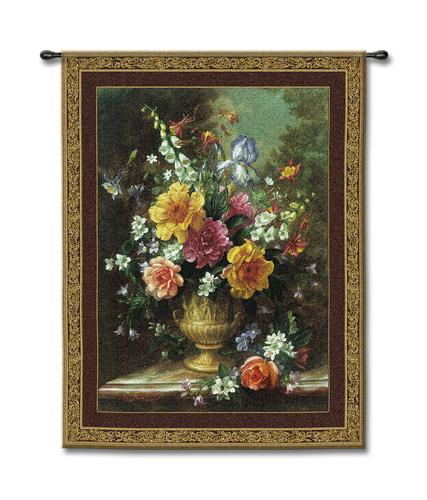 Nature'S Glory IV Still Life Wall Tapestry - Floral Bouquet In A Vase, 42in X 53in