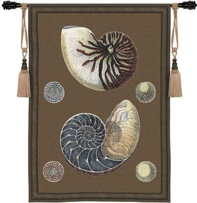 Nautilus Contemporary Wall Tapestry - Modern Design With Shells, 36in X 53in