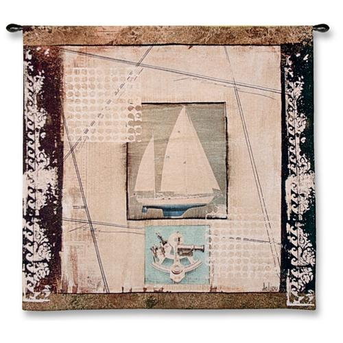 Navigations Zelda Contemporary Wall Tapestry - Collage With A Ship, 52in X 52in