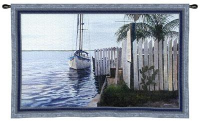 No Worries Nautical Wall Tapestry - Sailing Ship Picture, 53in X 36in
