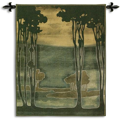 Nouveau Trees Contemporary Landscape Tapestry Wall Hanging, 43in X 53in