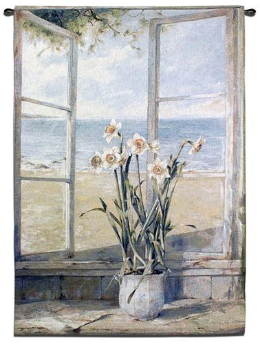 Ocean Narcissus Window View Tapestry Wall Hanging - Seascape & Still Llife, 38in X 53in