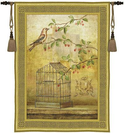 Oiseau Cage Cerise I Bird Wall Tapestry, 38in X 53in