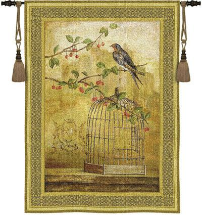 Oiseau Cage Cerise II Bird Wall Tapestry, 38in X 53in