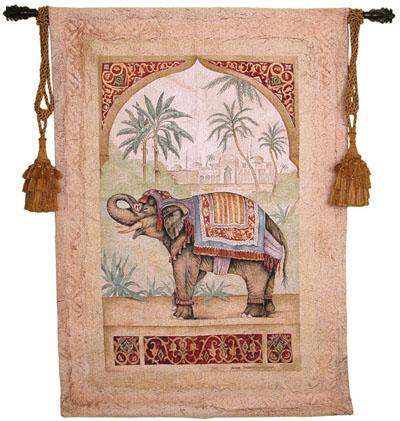 Old World Elephant I Animal Tapestry Wall Hanging - Indian Motif, 38in X 53in