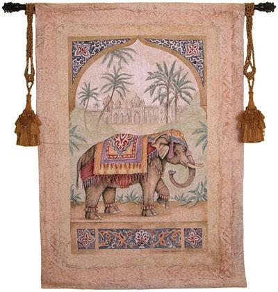 Old World Elephant II Animal Tapestry Wall Hanging - Indian Motif, 38in X 53in