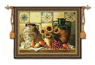 Old World New Morning Still Life Wall Tapestry - Sunflowers & Fruits Picture, 53in X 42in