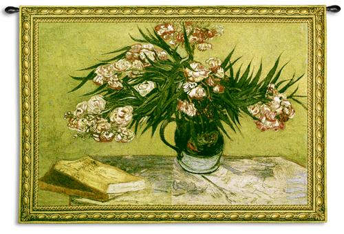 Oleanders Floral Stillife Tapestry Wall Hanging, 53in X 38in