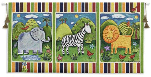 On Safari Children Tapestry Wall Hanging - Kids Decor, 53in X 27in