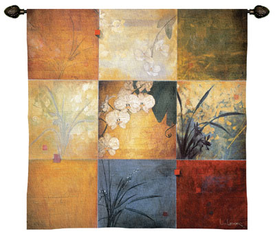 Orchid Nine Patch Modern Tapestry Fine Art Picture, 53in X 53in