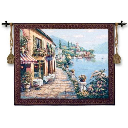 Overlook Cafe I Mediterranean Seascape Wall Tapestry - Coastal Scene, 53in X 43in