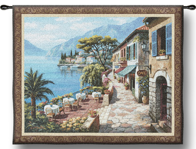 Overlook Cafe II Landscape Tapestry Wall Hanging, 53in X 44in
