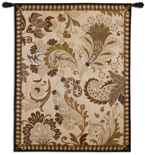 Paisley Applique Ornamental Tapestry Wall Hanging - Botanical Design, 41in X 53in