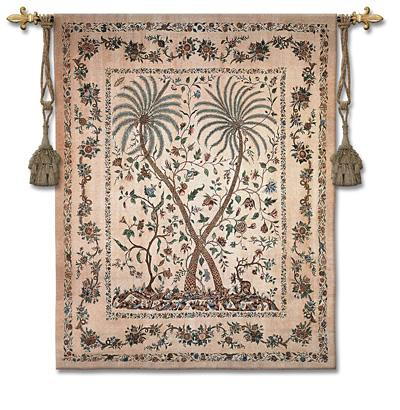Palampore Ornamental Tapestry Wall Hanging - Tropical Motifs, 46in X 53in