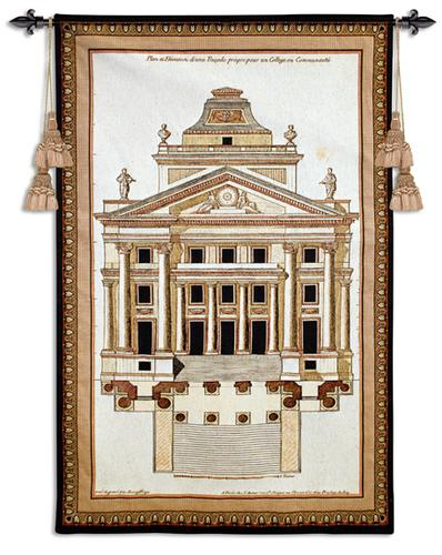 Palladio Facade I Ornamental Tapestry Wall Hanging - Architectural Design, 33in X 51in