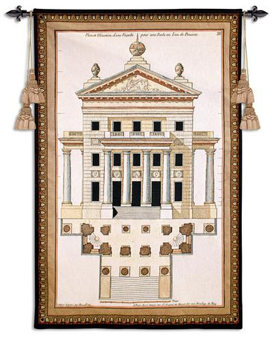 Palladio Facade II Ornamental Tapestry Wall Hanging - Architectural Design, 33in X 51in
