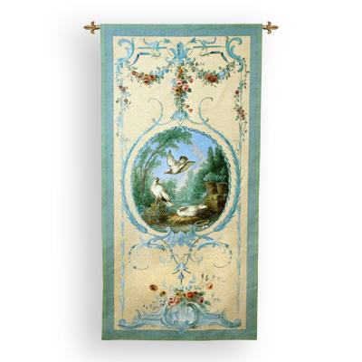 Panelled Detail Of Doves Bird Wall Tapestry - Ornamental Composition With Birds, 34in X 68in