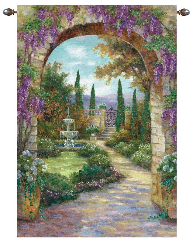 Paradise Fountain Garden Scene Tapestry Wall Hanging, 56in X 80in