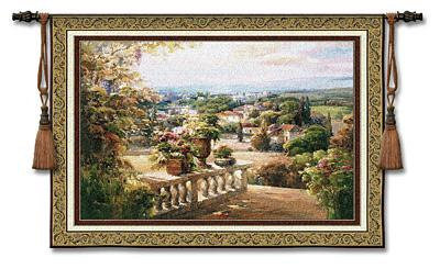 Paradiso Landscape Tapestry Wall Hanging - Floral Country, 53in X 37in
