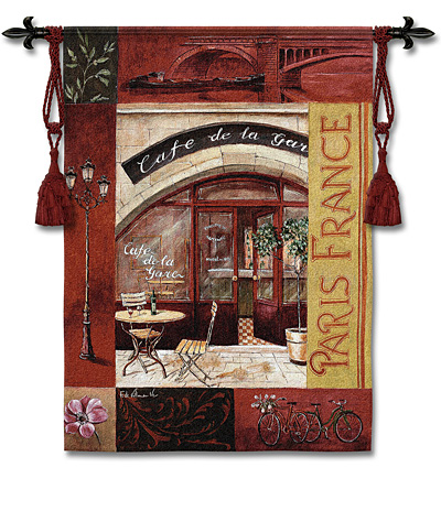 Paris France I Tapestry Wall Hanging, 39in X 53in