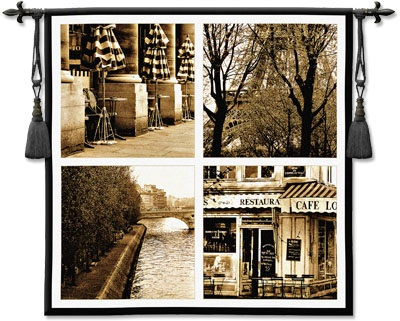 Parisian Moments Cafe Cityscape Tapestry Wall Hanging - Picture Of Paris In Retro Style, 52in X 52in