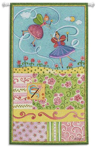 Patchwork Fairy II Children Tapestry Wall Hanging - Kids Decor, 25in X 44in