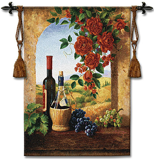 Patio View Wine Still Life Tapestry Wall Hanging - Window View Picture, 38in X 53in