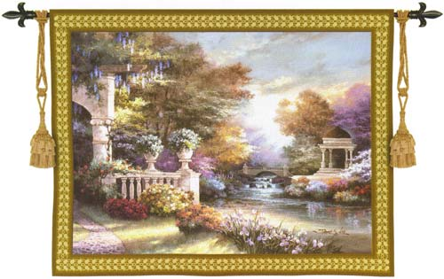 Peaceful Song Landscape Tapestry Wall Hanging, 53in X 41in