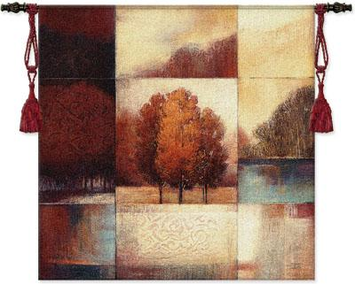 Persimmon Forest Landscape Wall Tapestry - Abstract Collage With Trees, 53in X 53in