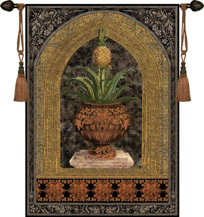 Pineapple Urn Fruit Still Life Wall Tapestry - Ornamental Design, 53in X 74in