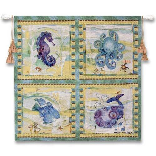 Playful Sea Children Tapestry Wall Hanging - Kids Decor, 44in X 43in