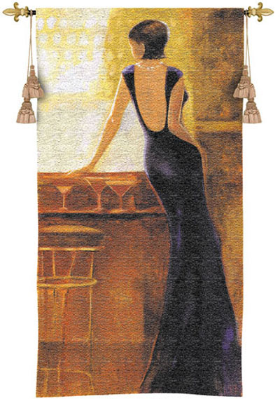 Poise Romantic Tapestry Wall Hanging - Bar Scene With A Beautiful Lady, 27in X 53in