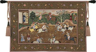 The Polo Match Old World Tapestry Wall Hanging - Retro Scene, 53in X 38in