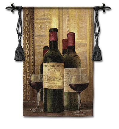 Pomerol Wine Still Life Wall Tapestry, 33in X 53in