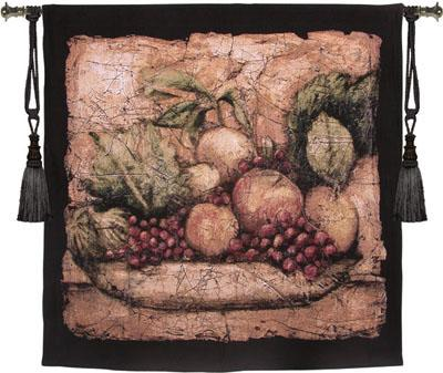Pompeian Melange Still Life Tapestry Wall Hanging - Picture Of Fruits, 53in X 53in