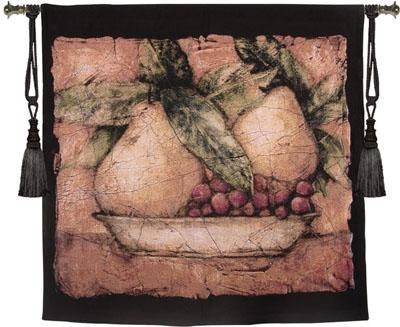 Pompeian Pears Still Life Tapestry Wall Hanging - Picture Of Fruits, 53in X 53in