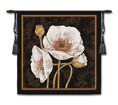 Poppies By Night Contemporary Tapestry Wall Hanging - Botanical Design In Bright Colors, 44in X 44in