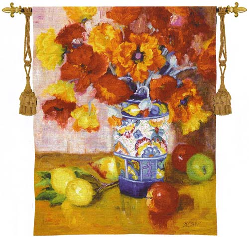 Poppies Galore Tapestry Wall Hanging - Floral Picture, 38in X 53in