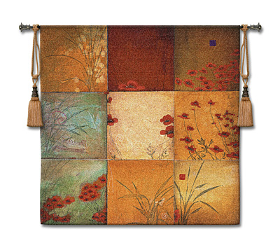 Poppy Nine Patch Li-Leger Modern Tapestry Fine Art Picture, 53in X 53in
