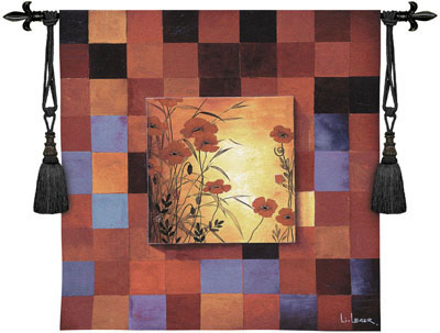 Poppy Patterns Contemporary Tapestry Fine Art Picture, 53in X 53in