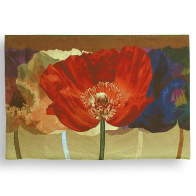 Poppy Tango Contemporary Floral Tapestry Wall Hanging - Botanical Design, 52in X 35in
