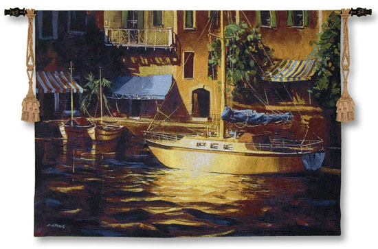 Port Of Call Nautical Tapestry Wall Hanging - Harbor View, 38in X 53in