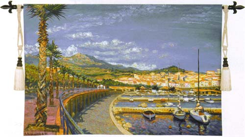 Porto Mer Nautical Tapestry Wall Hanging - Harbor View, 53in X 36in