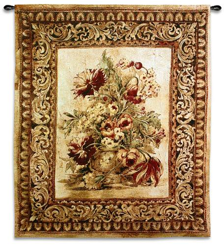 Porto Sienna Floral Still Life Tapestry Wall Hanging, 33in X 53in